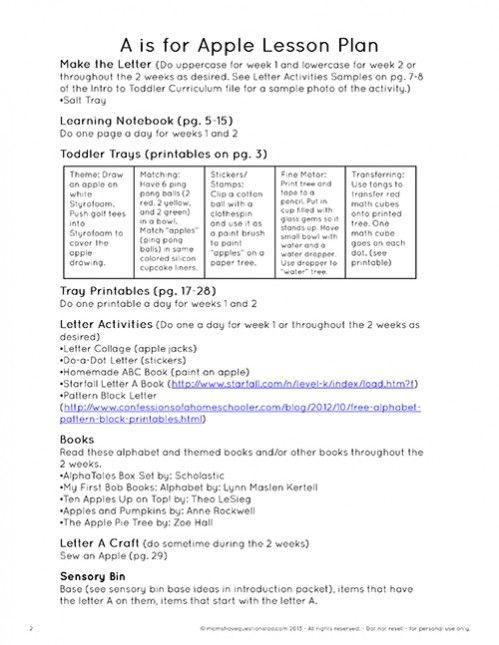 Sample Toddler Lesson Plan Template  Resume Template Sample