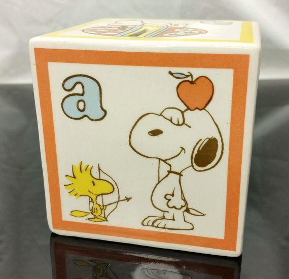 Rare Vintage Peanuts Snoopy Alphabet Bank Abc Ceramic Block Japan Coin Piggy Bank Charlie Brown Snoopy Peanuts Snoopy Charlie Brown Peanuts