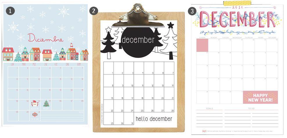 Calendarios de Diciembre 2014 para imprimir y fondos de escritorio
