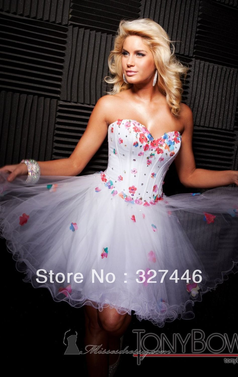 Designer sexy white rainbow short prom dresses gowns pageant