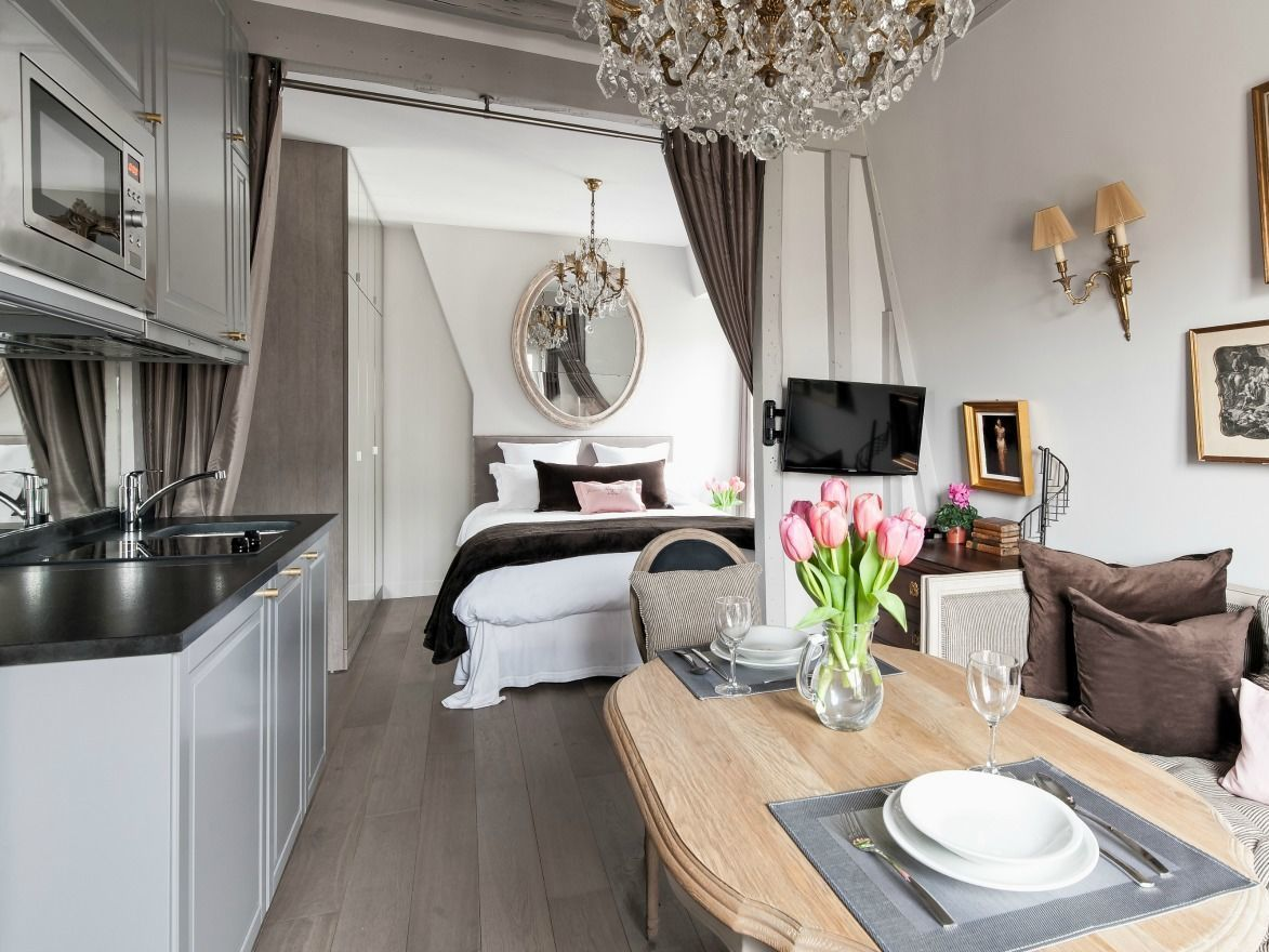 paris apartment, brown and grey, crystal chandeliers