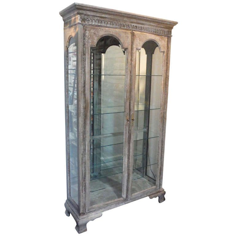 French Distressed Antique Decorative Display Cabinet