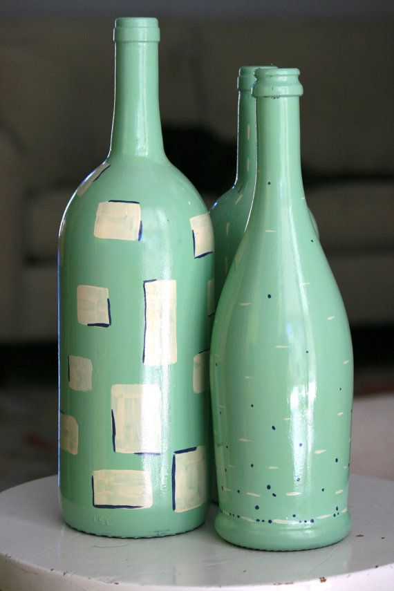 Decorative handpainted Bottle Trio  MINT by HeartHounds on Etsy, $45.00