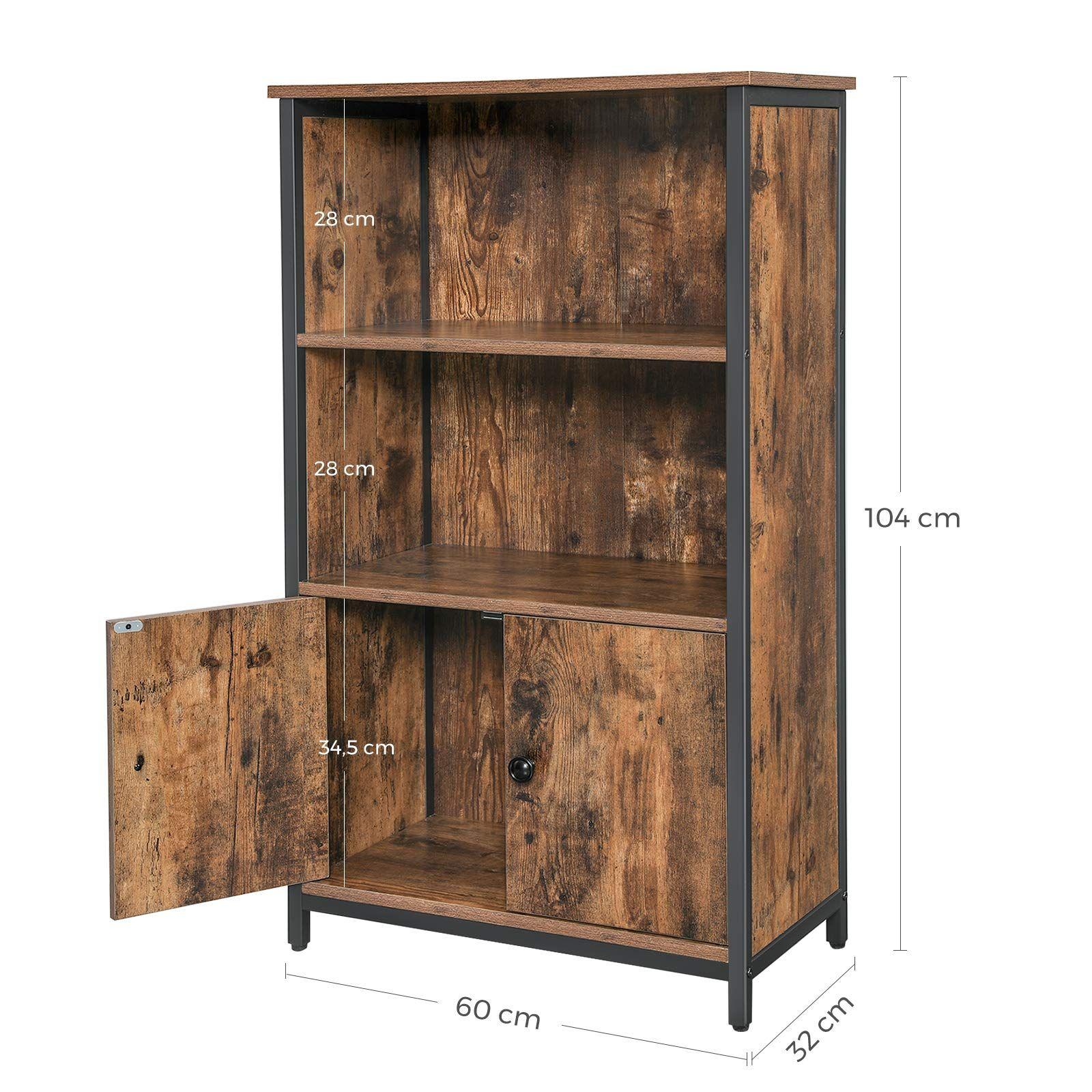 VASAGLE Floor Standing Cabinet, Storage Cabinet, Kitchen Cupboard ...