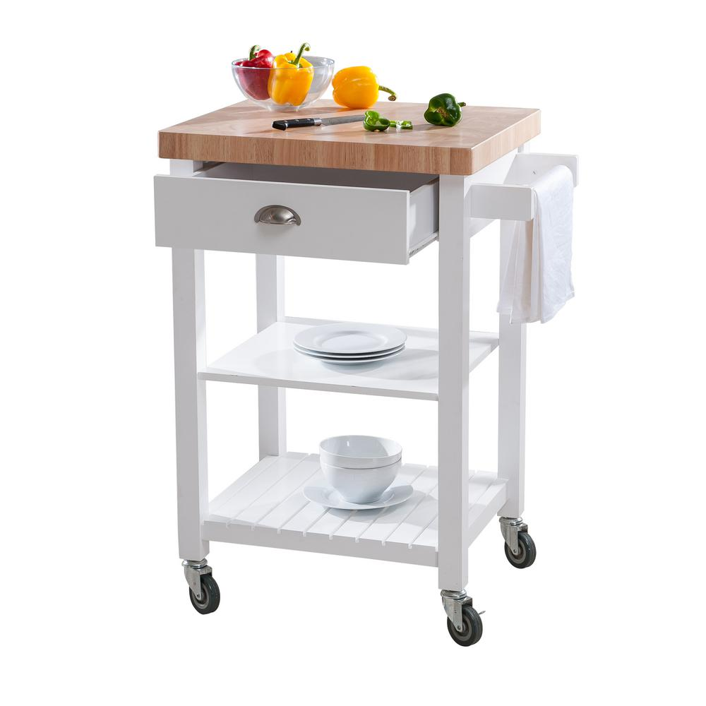 Hampton Bay Brookwood White Wood Kitchen Cart On Wheels