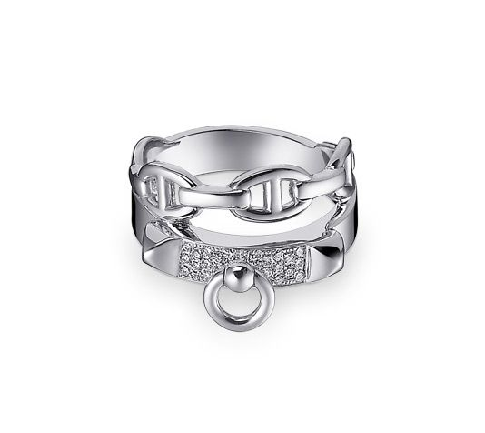 Collier de Chien Hermes double tour ring in white gold. 28 diamonds, .13 total carat weight, size 46  This reference may be subject to a delivery delay. For more information, please contact us at 800-441-4488, option 1.