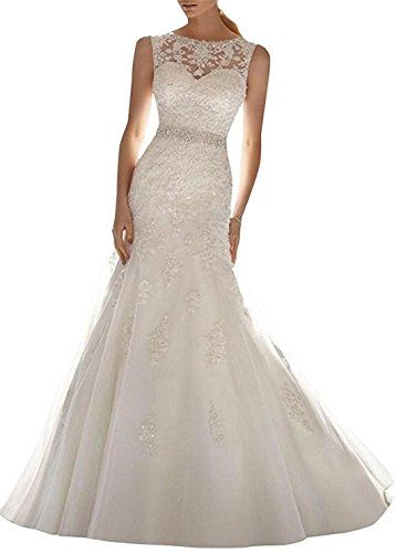 Setwell 2017 Womens Mermaid Wedding Dress Appliques Beaded V Back Bride Gown 06 US12 White -- Continue to the product at the image link.