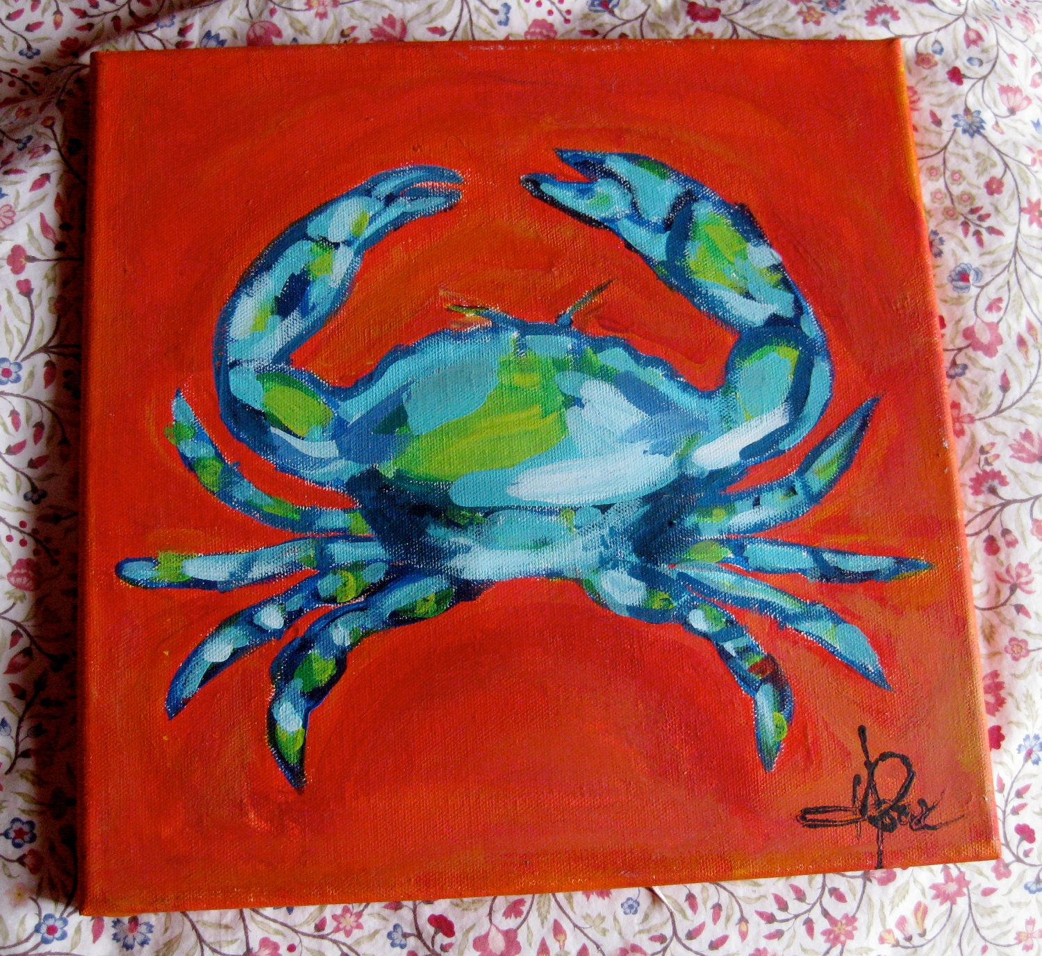 colorful new orleans acrylic crab on canvas | Birthday Party Ideas ...