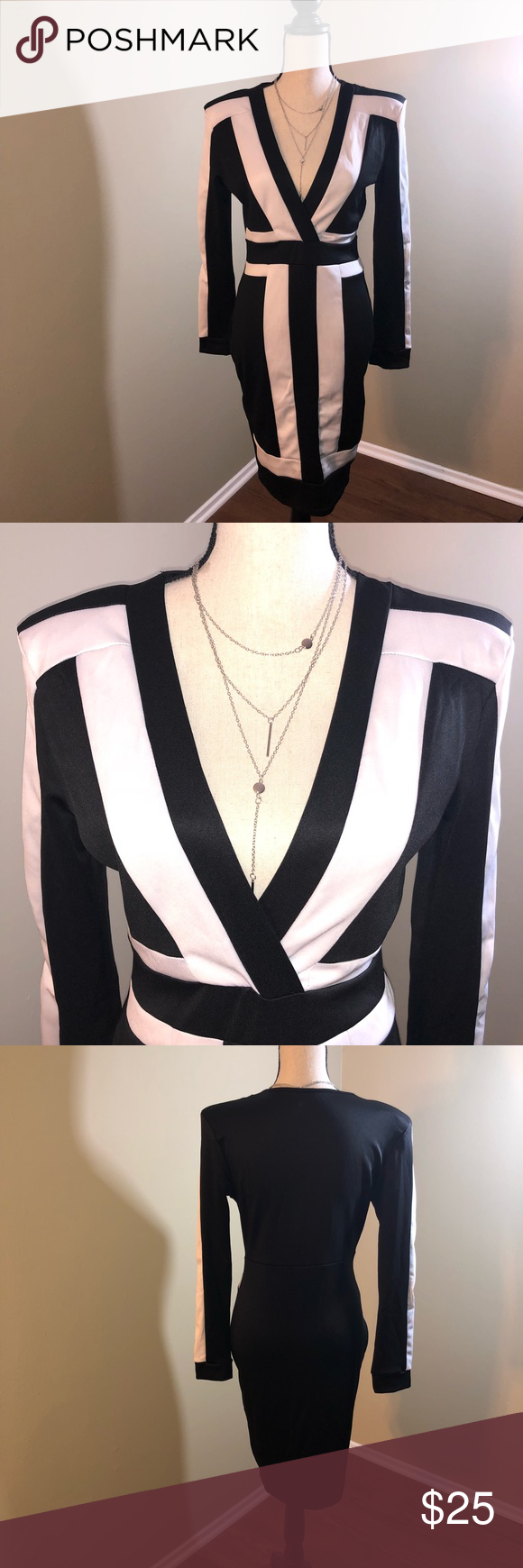 Black and white wrap dress size large my posh picks pinterest