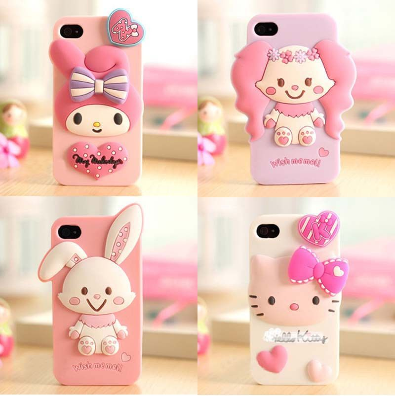 cute iphone 4 cases 3d rabbit animal soft silicone cover for 13928