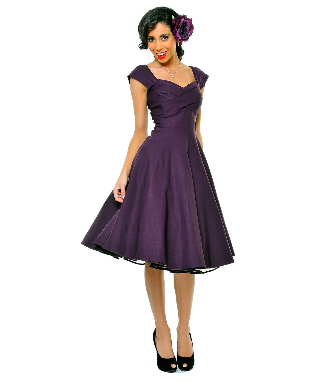 1940 bridesmaidvdresses | BEST SELLER! STOP STARING! MAD MEN Eggplant Pleated Bodice Cap Sleeve ...