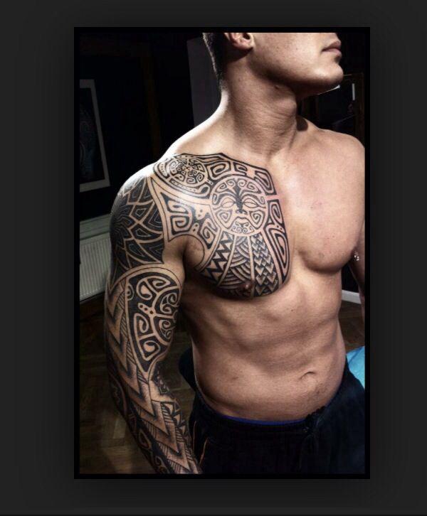 Chest Arm Sleeve Polynesian Tattoo Chest Tattoo Men Tribal Tattoos Mens Shoulder Tattoo