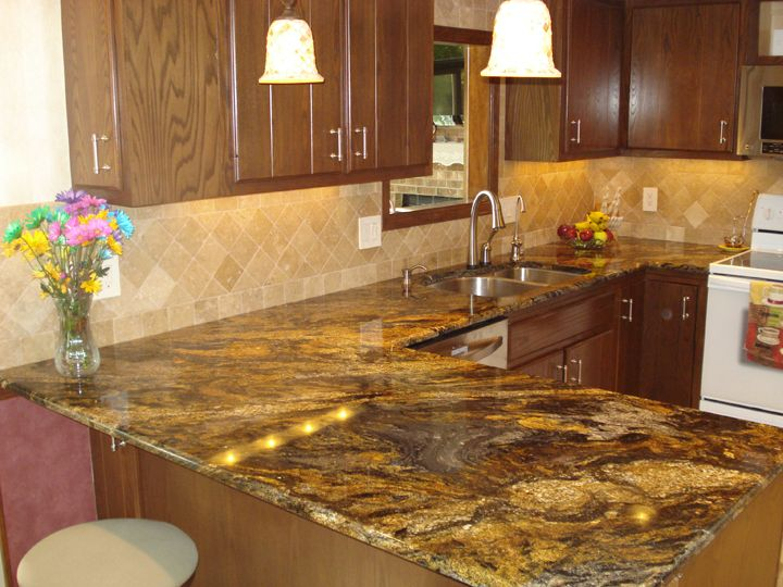 Kitchen Backsplashes With Granite Countertops | Magma Granite With  Stainless Steel Undermount Kitchen Sink,