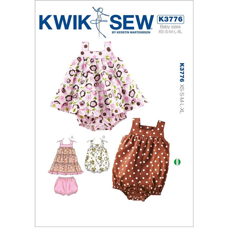 Babies Dress, Bloomers and Romper Kwik Sew Sewing Pattern No. 3776 ...