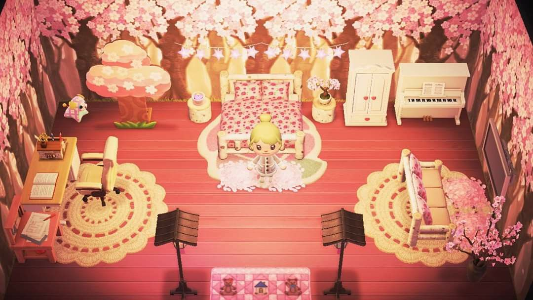 Cherry Blossom Themed Room Animal Crossing New Horizons Acnh Animal Crossing Cherry Blossom New Animal Crossing