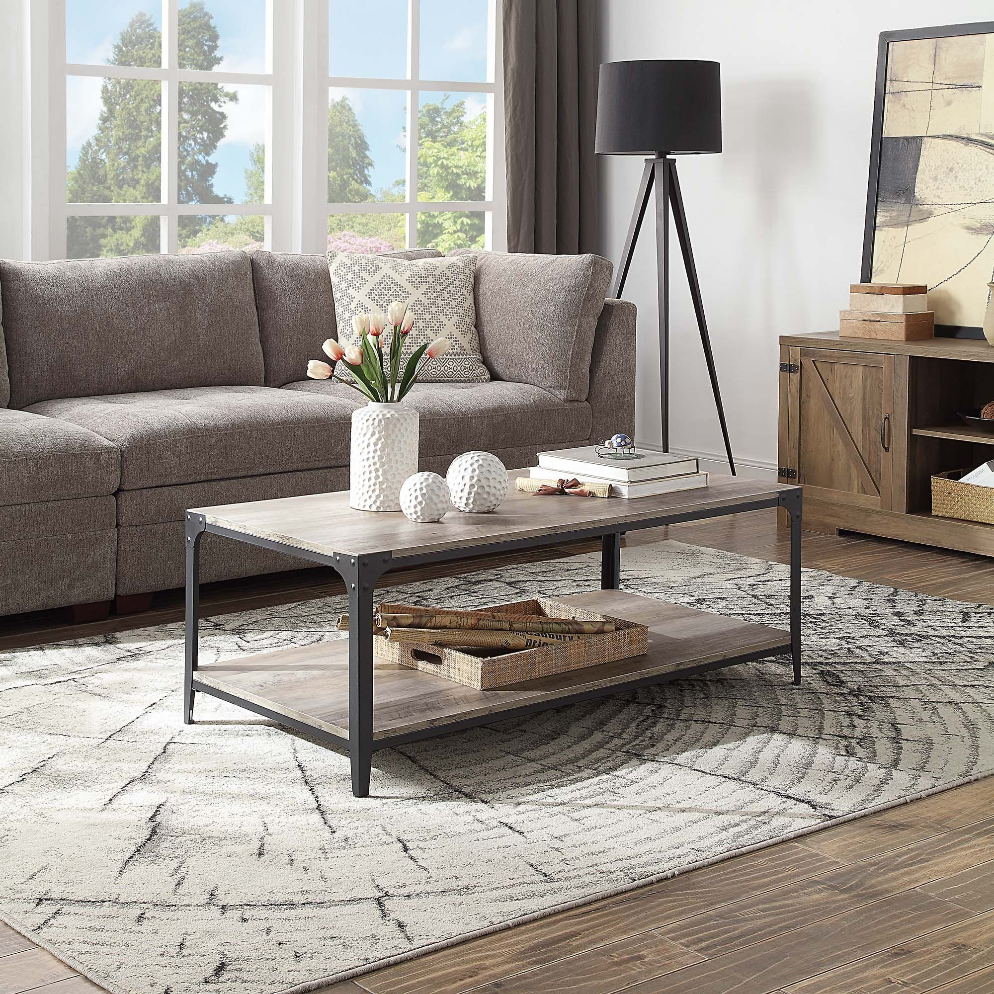 Belleze 48 Coffee Table With Storage Shelf Metal Frame For Living Room Walmart Com In 2021 Coffee Table Coffee Table With Storage Living Room Table Living room table gray