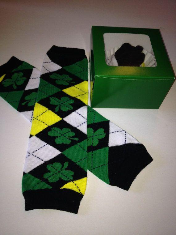 Isish St. Patricks Day Shamrock Green and Yellow Argyle Leg Warmers Packaged like a Cupcake on Etsy, $7.00
