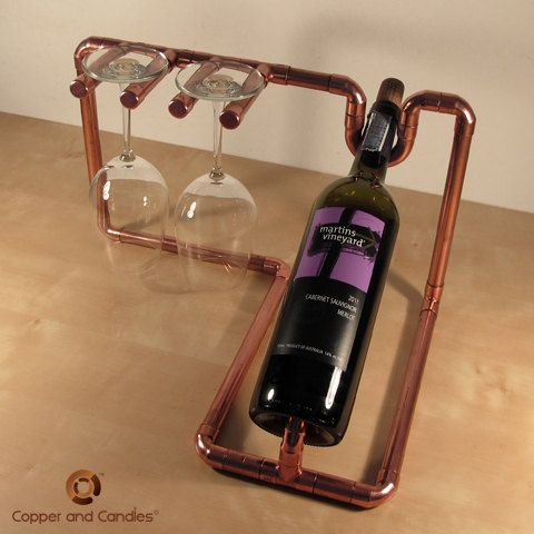 Industrial Copper Wine Bottle Holder By Copperandcandles On Etsy 145 00 Rafturi Vin Pahare De Vin Sticle De Vin