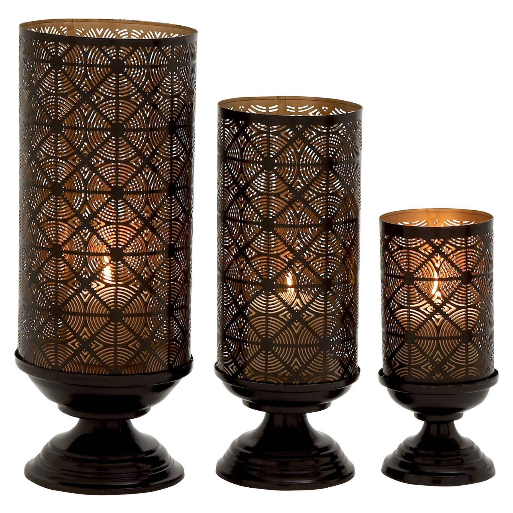 Decmode pedestal base hurricane candle holders set of