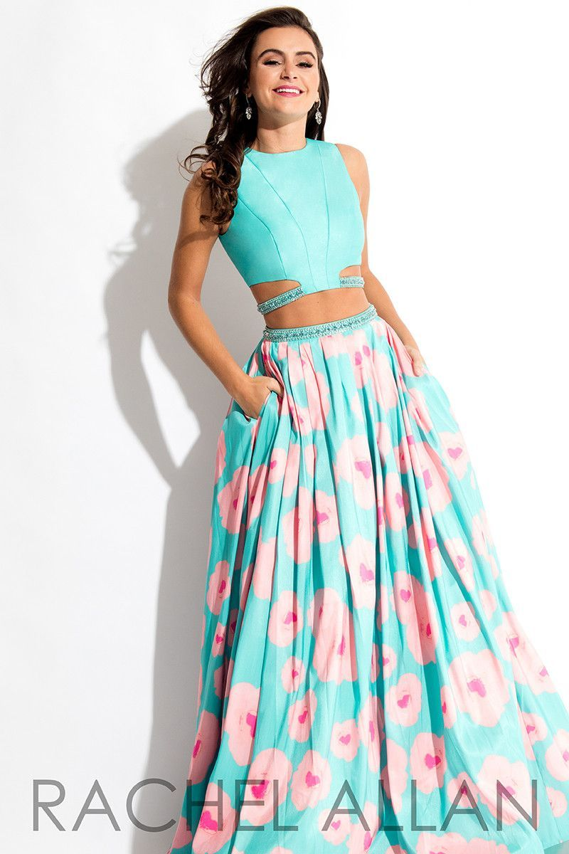 Rachel Allan 7536 Aqua/Coral Two Piece Prom Dress | Prom ...