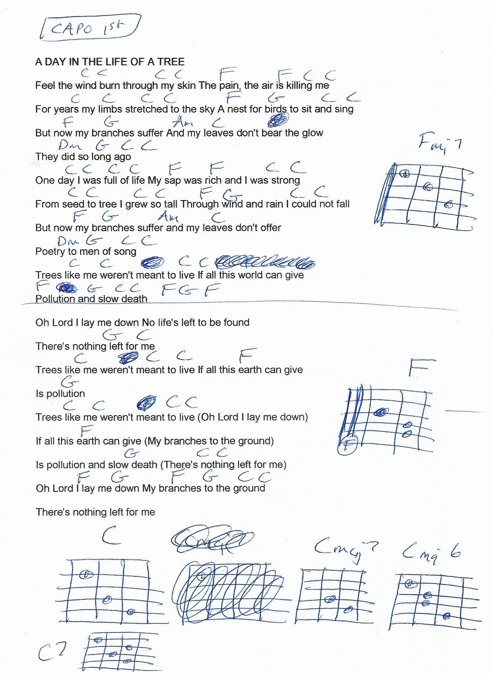 A Day In The Life Of A Tree Beach Boys Guitar Chord Chart Capo
