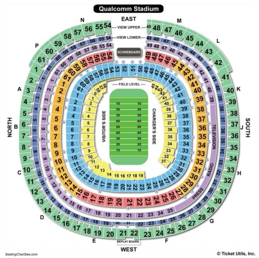 Awesome And Lovely Qualcomm Stadium Seating Chart Concert