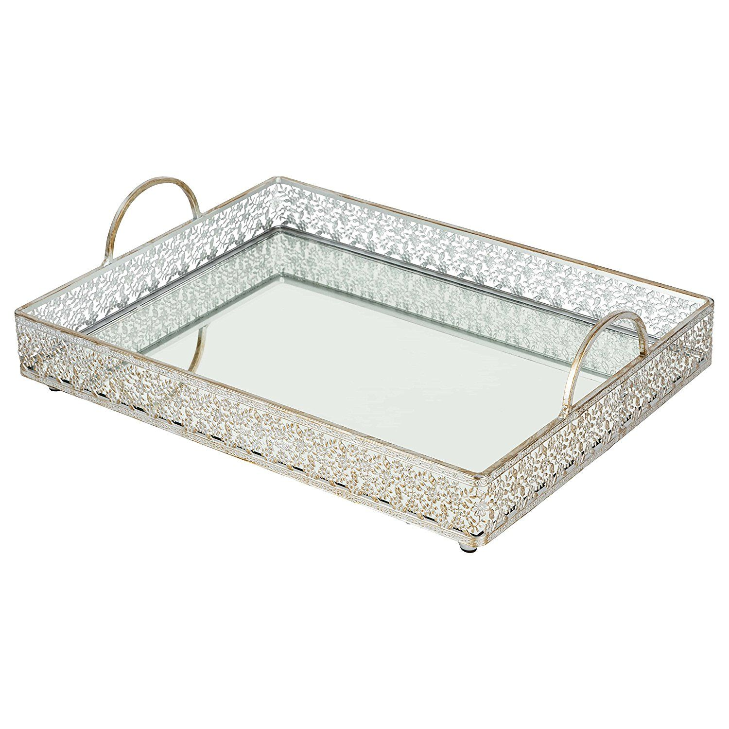 Decorative Mirror Tray Extraordinary Giovanni Vintage Silver Mirror Serving Tray Rectangular Metal Decorating Design