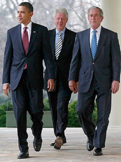 From left, Presidents Barack Obama, Bill Clinton and George W. Bush, May 2nd, 2011.