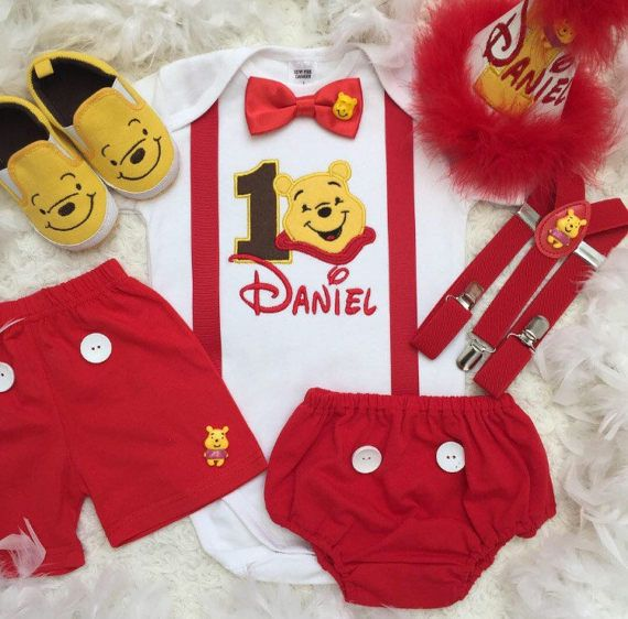 3-pc Winnie the Pooh Inspired boys Birthday outfit-includes personalised top,bottom,shoes #birthdayoutfit