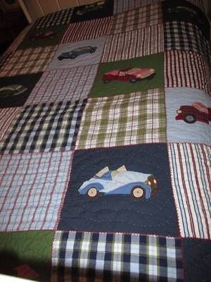 Pottery barn kids cars & trucks plaid quilt youth twin bedding 66 by 84