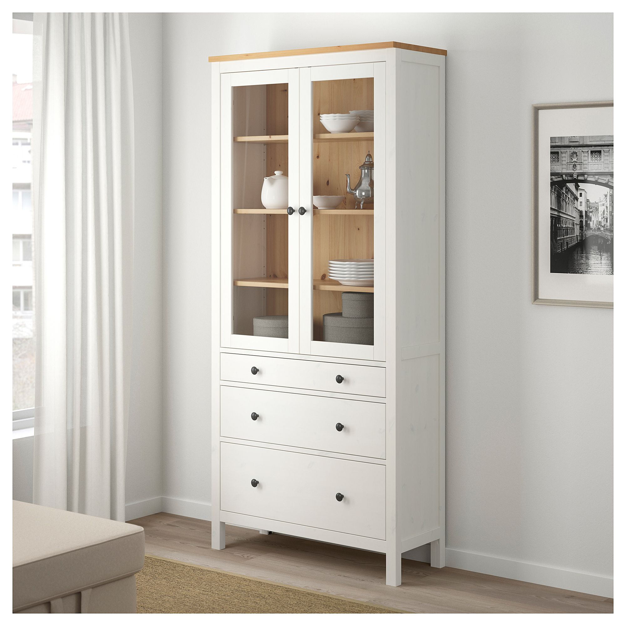Hemnes Glass Door Cabinet With 3 Drawers White Stain Light