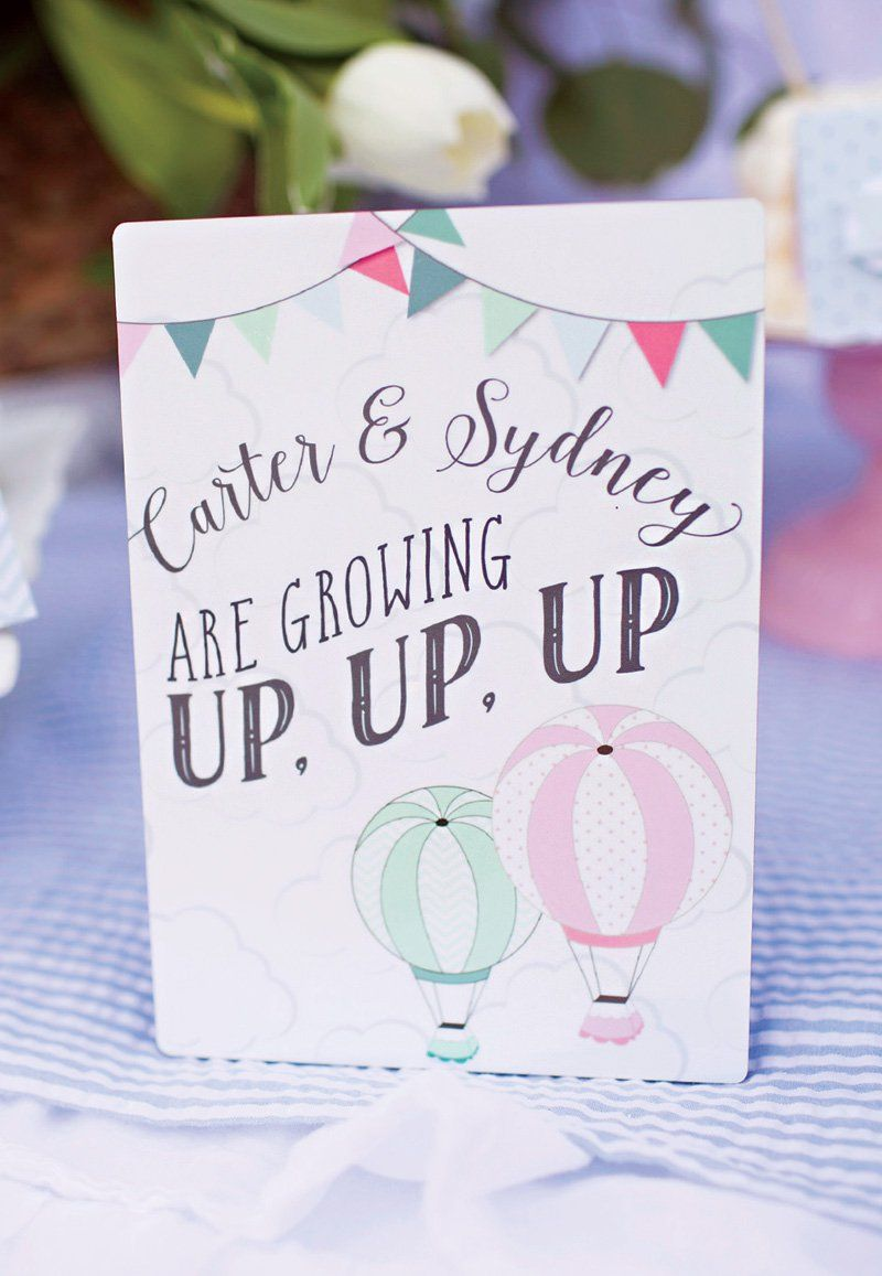 Up Up and Away} Twins\' Hot Air Balloon 1st Birthday | Balloon ...