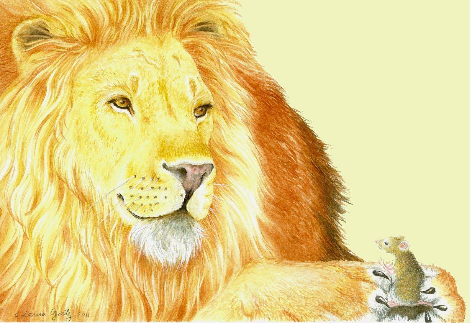 лев и мышь сказка с картинками
