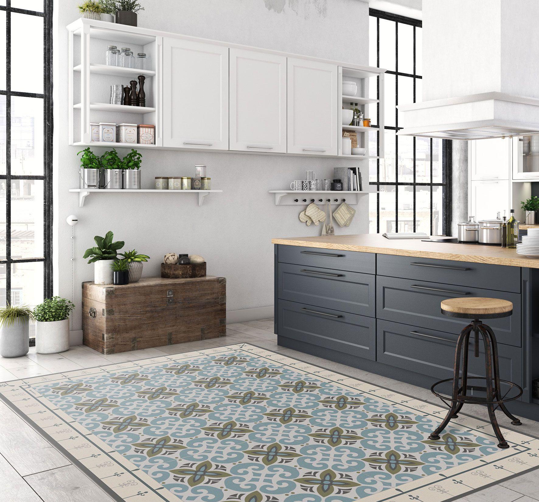 Moroccan Tiles Floor Mat Pvc Kitchen Rug Linoleum Area Rug Etsy Kitchen Mats Floor Kitchen Flooring Vinyl Flooring Kitchen