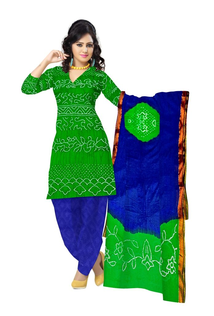 49a108123ce59 Cotton Satin Bandhani Dress Material with Parrot Green and Royal Blue Colour