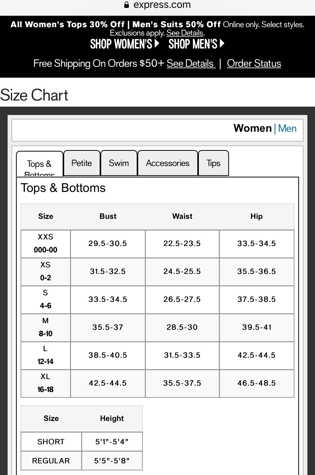 Express Women S Tops Bottoms Size Chart Shop Poshmark