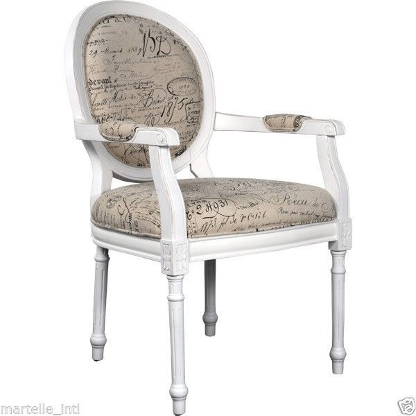 French script writing chair antique white finish new free