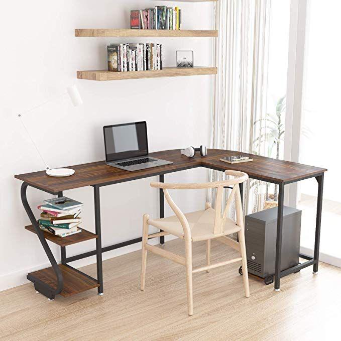 Weehom Large Reversible L Shaped Desk Modern Corner Computer Desk With Storage Shelves Home Computer Desks For Home Modern Shelving Computer Desk With Shelves