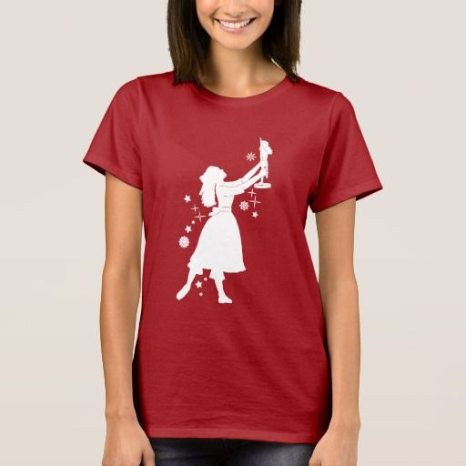 ballerina and nutcracker at christmas t shirt