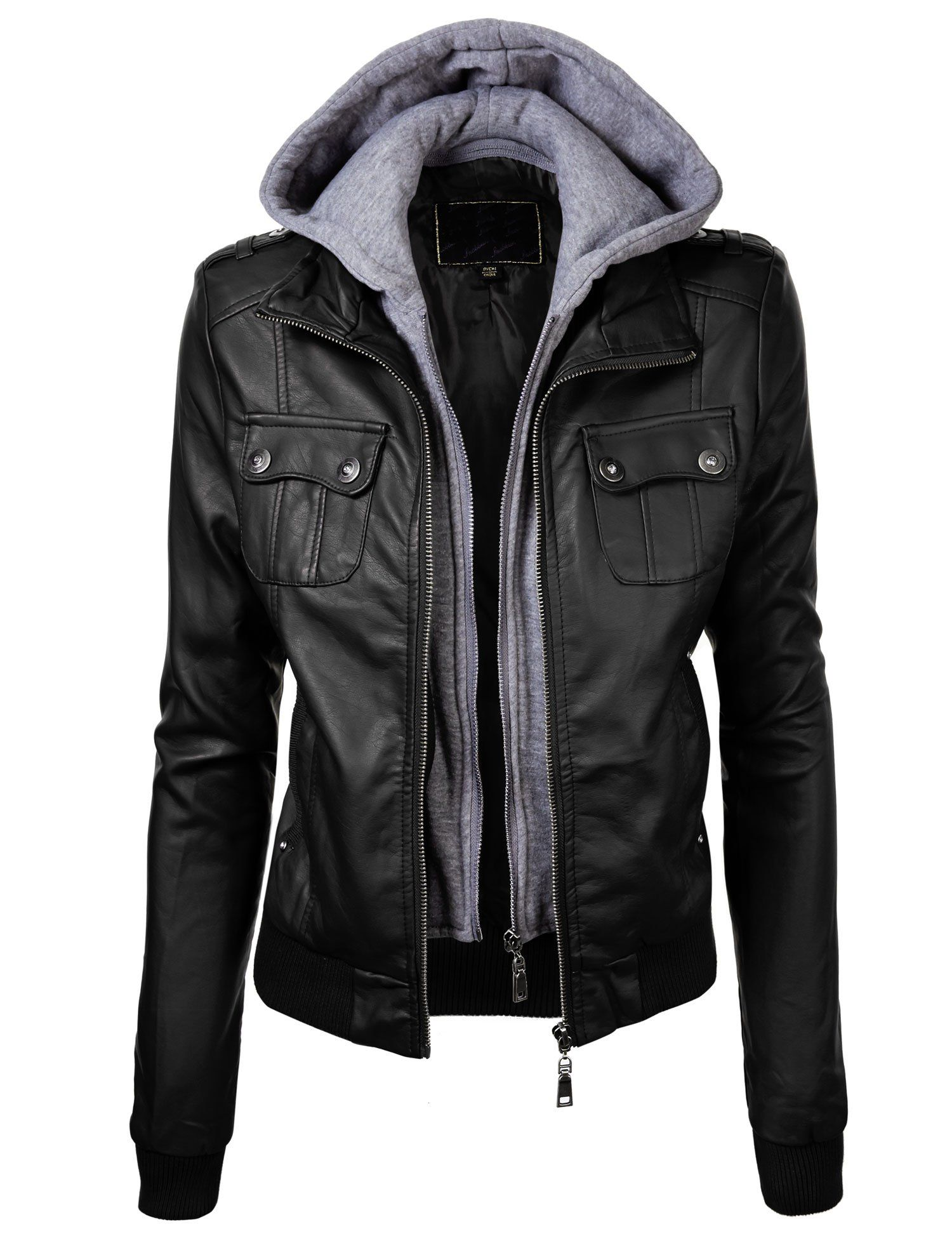 81d46064feae4 Lock and Love Women s Double Hoodie Faux Leather Jacket L BLACK ...