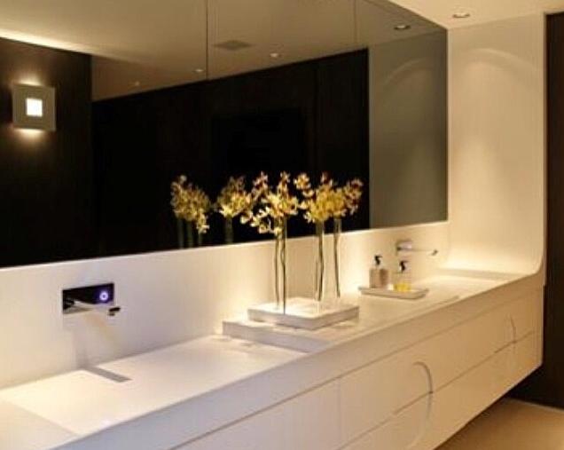 Movel Para Banheiro Azul : Banheiros de casal com duas cubas na bancada espelho