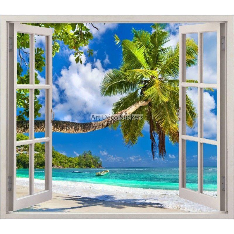 Sticker fen tre trompe l 39 oeil plage palmier r f 5441 5441 in maison jardin d coration de - Stickers piscine pas cher ...