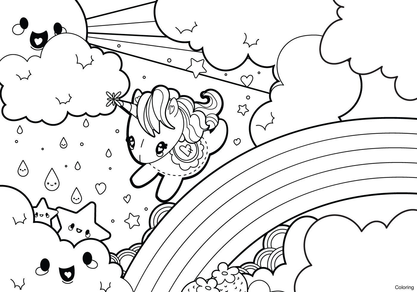 Coloriage licorne cute   Coloriage arc en ciel, Dessin kawaii à ...