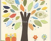 Baby boy, Nursery Art Decor, Kids Print, neutral colors.. tree, baby owl, orange, blue, green and yellow