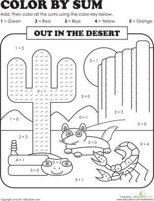 color by sum desert desert thematic unit first grade math worksheets first grade math 1st. Black Bedroom Furniture Sets. Home Design Ideas