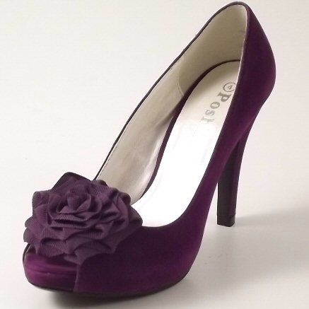 Womens Purple Suede Evening Bridesmaid Bridal Wedding Shoes Snuggle