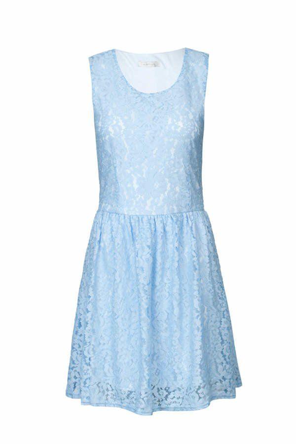 Hellblaues kleid lang mit spitze