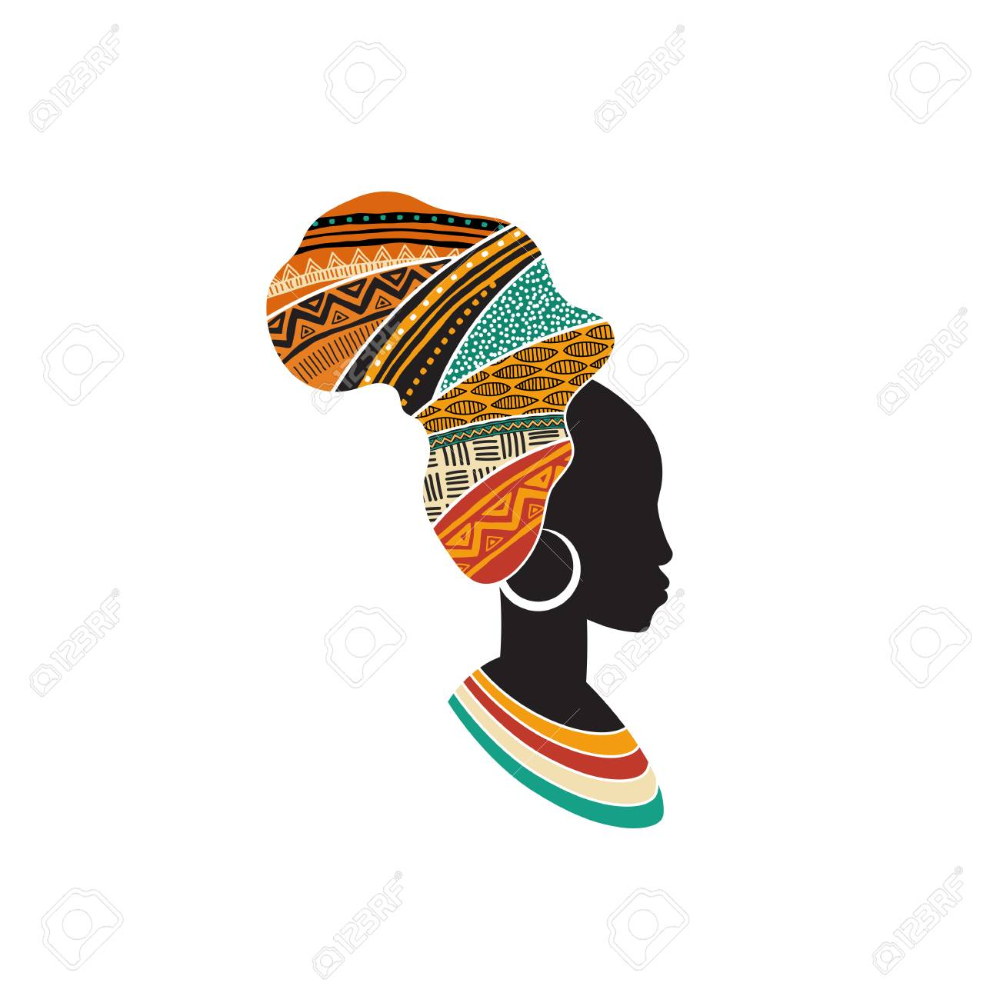 African Woman Silhouette With An African Map As A Head Wrap African Map African Women Painting African Drawings