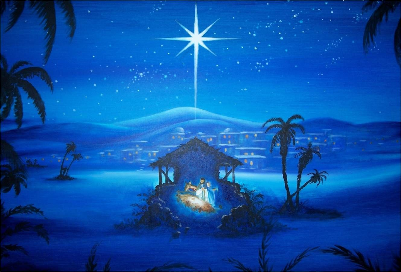 Nativity scene wallpaper christmas painting computer Christmas card scenes to paint
