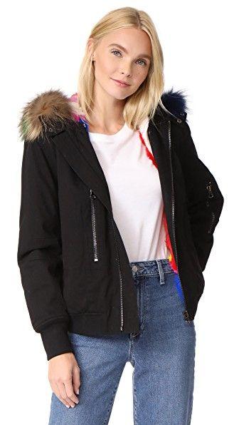 e4a4c8edfdd ADRIENNE LANDAU Hooded Bomber Jacket With Fur Lining.  adriennelandau   cloth  dress  top  shirt  sweater  skirt  beachwear  activewear